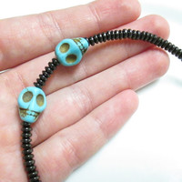 Magnetic Hematite Bracelet - Day Of The Dead Halloween Skull Bracelet, Anklet, Pet Collar, or Necklace
