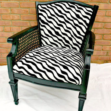 Vintage Hollywood Regency Black and White Accent Chair with Caning