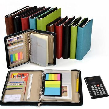 leather spiral notebook A5/A6 Zipper agenda planner organizer,Multi-function notebook Bring a calculator Business notebook book