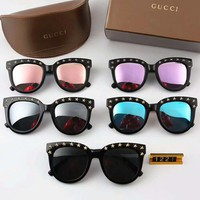 GUCCI Stylish Women Men Personality Rivet Sunglasses Sun Shades Eyeglasses Glasses Couples Style I-A-SDYJ