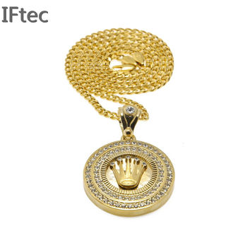 Iftec Brand Fashion Pure Gold Color Chain Men Twisted Necklace Luxury Pendants Long Chain Hip Hop Jewelry For Men Women Gift