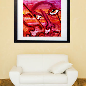 Original Painting - Colorful Living Room Art - Wall Art - Fine Art Painting - Figurative Painting - Gold - Pink - Lovers in Pink