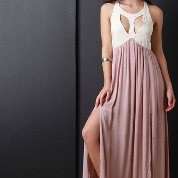 Two Tone Double Slit Woven Maxi Dress