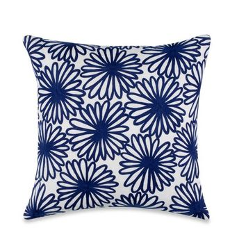 kate spade new york Charlotte Street Embroidered Floral Throw Pillow in Navy/White