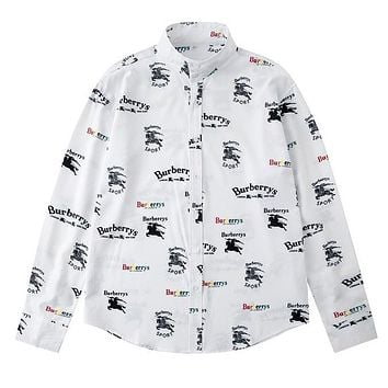 Burberry Fashion New Letter War Horse Print Long Sleeve Top Shirt White