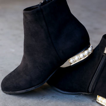 Faux Pearl Heeled Booties | UrbanOG