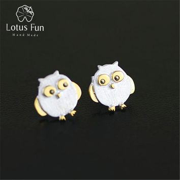 Lotus Fun Real 925 Sterling Silver Natural Creative Handmade Designer Fine Jewelry Ctue Owl Stud Earrings for Women Brincos
