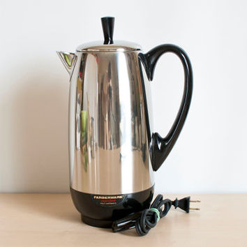 Vintage Extra Large Farberware Percolator, Superfast Chrome 12 cup Boiling Kettle, Complete Bronx NY