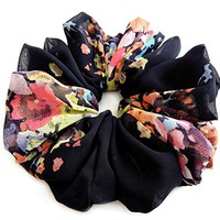 Black Bright Flowers Scrunchies for Hair Large Chiffon Designer Accessories Elastic Hair Ties Headband Ponytail Holder