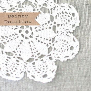 6 White Crochet Cotton Doilies by caramelos on Etsy