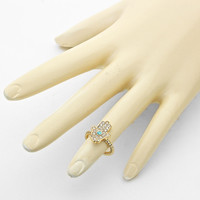 Hamsa Knuckle Ring Turquoise