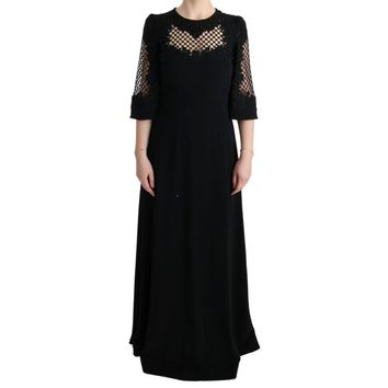 Dolce & Gabbana Black Stretch Shift Long Maxi Dress