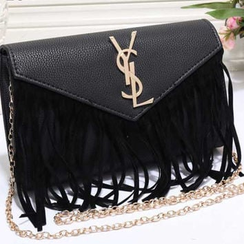 976a929a06f YSL Yves Saint Laurent Women Shopping Leather Metal Chain Crossbody Satchel Shoulder  Bag