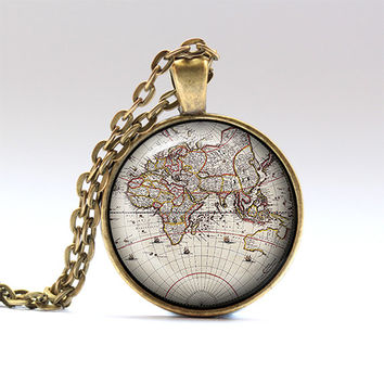 Old map pendant Map chain Geography necklace RO1365