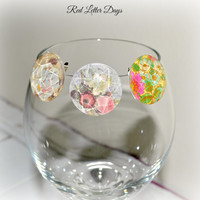 Stemless Wine Glass Charms, Shabby Wine Clips, Bridesmaid Gift