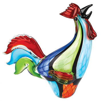 Badash J586 Murano Style Art Glass Super Rooster h16""