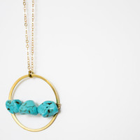 Turquoise Howlite Nugget Round Pendant Brass Necklace