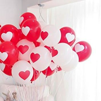 PartyWoo Party Balloons 12 inch Printed Latex Balloons 50 Packs for Kids Party Supplies Wedding Decoration Baby Shower or Christmas Decoration Birthday Decoration - Printed Heart