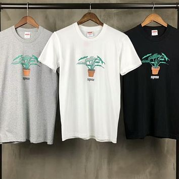 Supreme Small Potted Green Leaf Loose Couple Half Sleeve T-Shirt F-CY-MN