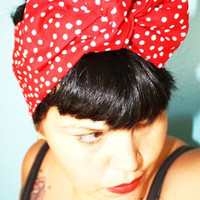Retro hair tie Red Polka Dots