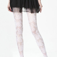 ROMWE | Flower Lace White Tights, The Latest Street Fashion