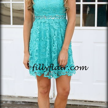 All about Evening Lace dress in TURQUOISE - Filly Flair