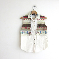 Vintage South western Cowgirl shirt. tribal button down with silver conchos. Sleeveless top.