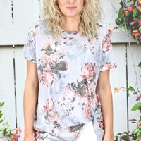 Get Twisted Floral Print Short Sleeve {L. Grey Mix}