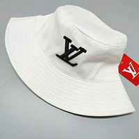 LV Louis Vuitton Trending Summer Stylish Embroidery Shade Sunhat Fisherman Hat Cap White