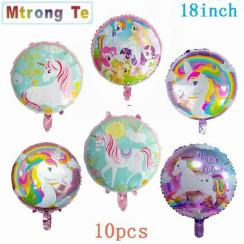 18inch 10pcs Happy Birthday Party Decorative Unicorn Pegasus inflatealbe Foil Balls Mixed Children Toys Baby Shower Decorations