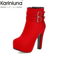KARNILUNA Big Size 33-47 New Fashion High Heels Ankle Boots Sexy Platform Zip Up Party Date Shoes Women Add Fur Winter Autumn