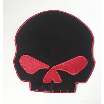 Red & Black Half Skull Patch large Back patch for Vest or Jacket Iron on