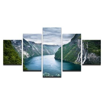 Green Mountain And River Wall Art Canvas Panel Poster Print Natural Landscape Pr