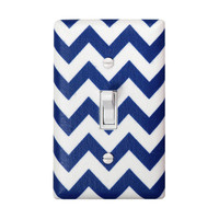 Chevron Light Switch Plate Cover / Nursery Decor / Kids Boys Girls Room / Nautical Navy Royal Blue and White / By Slightly Smitten Kitten