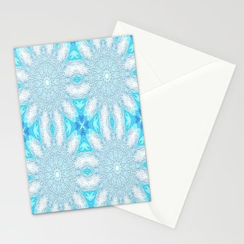 Turquoise & Aqua Frozen Sunburst Flowers Stationery Cards by 2sweet4words Designs | Society6