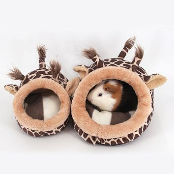 TTnight Small Animal House, Animal Design Plush Cotton Hamster House Rat Ferret Cage Hammock Nest