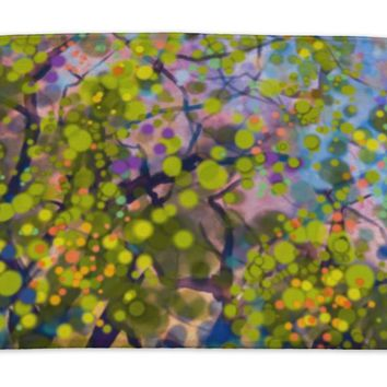 Bath Mat, Abstract Watercolor Painting Spring Nature Season With Yellow Flowers Tree On