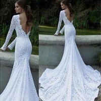 Glamorous Wedding Dress Evening Formal Gown Lace Long Dress [7983422919]
