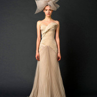Sheath/Column Sweetheart Sweep/Brush Train Chiffon Wedding Dress - EveAllure.com