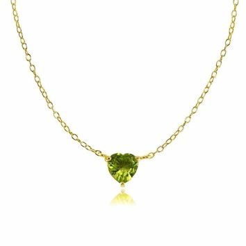 Dainty Peridot Small Heart Choker Necklace in Gold Plated Sterling Silver