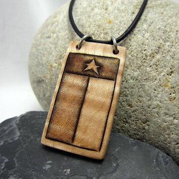 Rustic Texas Flag Necklace, Rustic Texas Jewelry, Wood Cowboy Necklace, Leather Necklace with Pendant