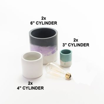 6pc Cylinder Vase Silicone Mold Set