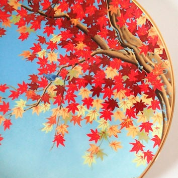 Franklin Mint Flowers and Birds of the Orient, Hondo Nuthatch and Maple Tree 1979  Hand Painted Decorator Plate