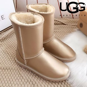 UGG Popular Women Men Classic Leather Shoes Boots Winter Warm Half Boots Shoes
