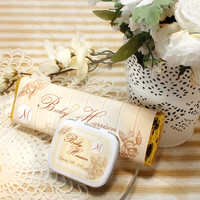 Brown Personalized Wedding Gourmet Chocolate Bars, Wedding Mint Tins, Wedding Favors, Candy Favors
