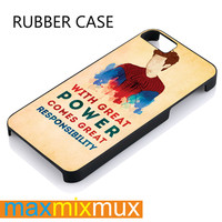 Spiderman Quote Great Power Responsibility iPhone 4/4S, 5/5S, 5C, 6/6 Plus Series Rubber Case