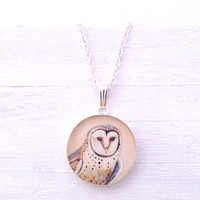 OWL NECKLACE - Cream White Delicate Bird Jewelry Barn Owl Hedwig teen gift