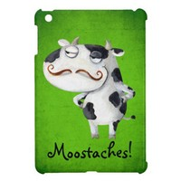 Cow with Mustaches iPad Mini Case from Zazzle.com