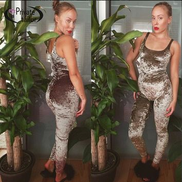 Women Gray velvet Jumpsuits Rompers sexy velour Tracksuit sleeveless Fitted Sexy Bodycon Purple Long Jumpsuit