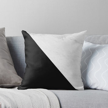 'Marble And Black Diagonal' Throw Pillow by by-jwp